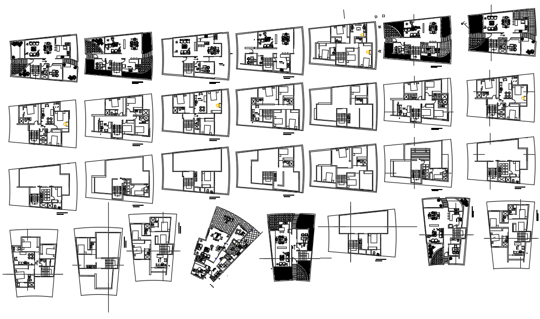 Floor plan of architectural view of  Single Family Residence Project dwg file