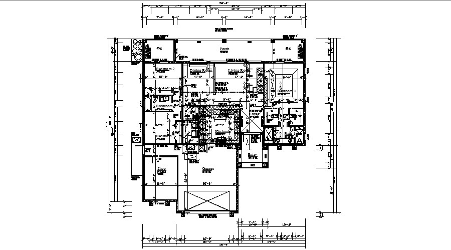 Floor plan of bungalow 58' x 62' with detail dimension in AutoCAD file