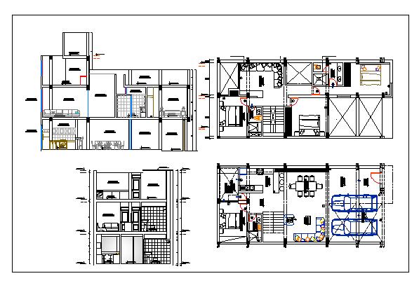Floor plan of bungalow with ground plus one floor dwg file