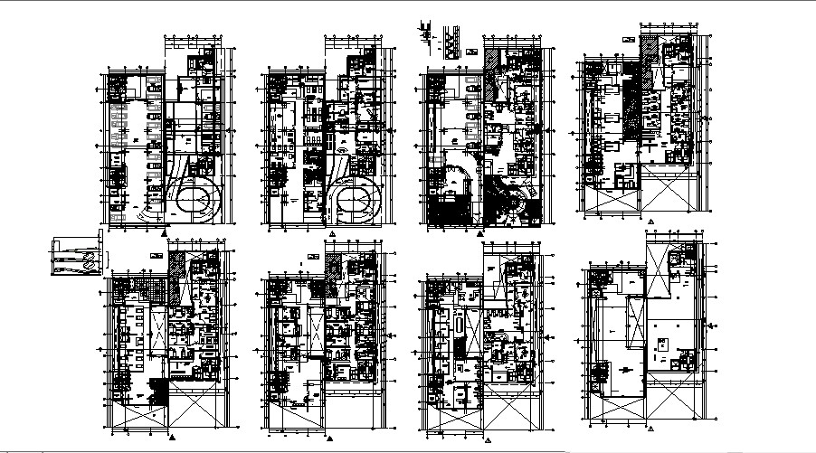 Floor plan of clinic 16.00mtr x 50.00mtr with detail dimension in dwg