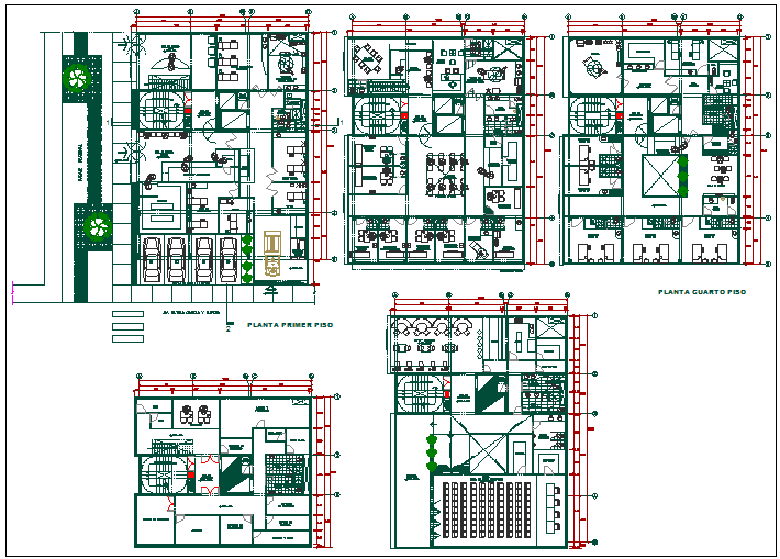 Floor plan of clinic with interior view dwg file