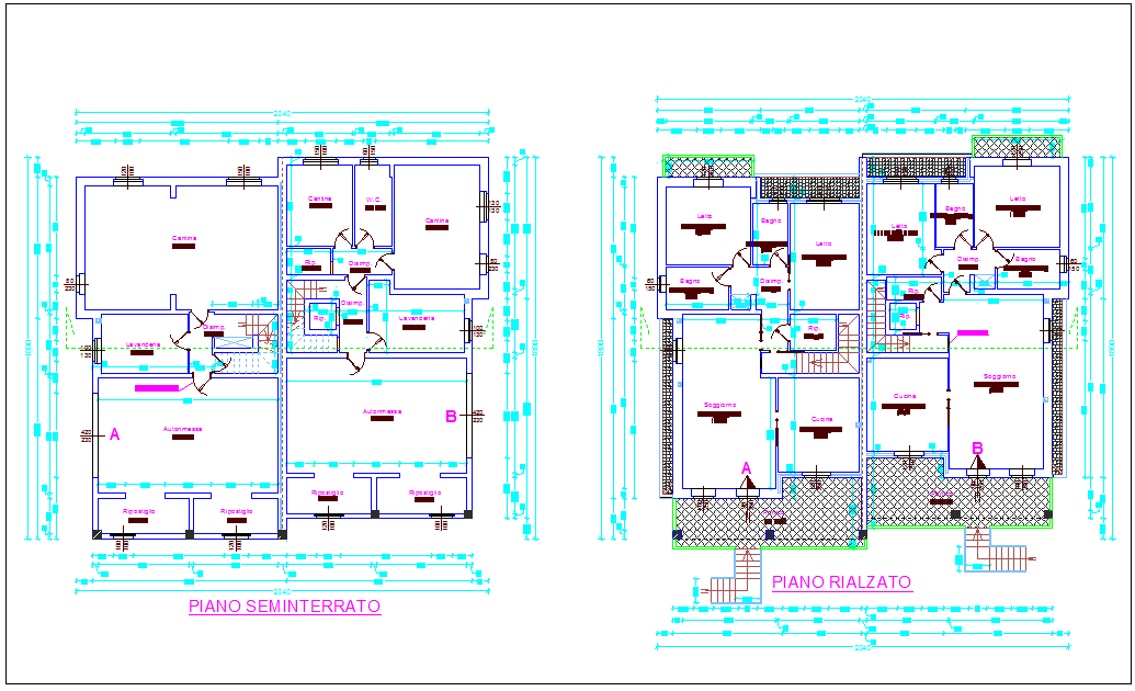 Floor plan of family house view dwg file