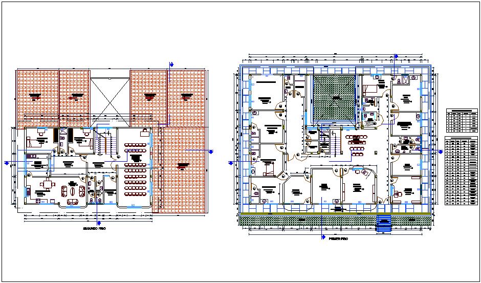 Floor plan of health center dwg file