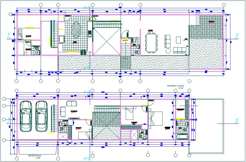 Floor plan of residence of single family dwg file