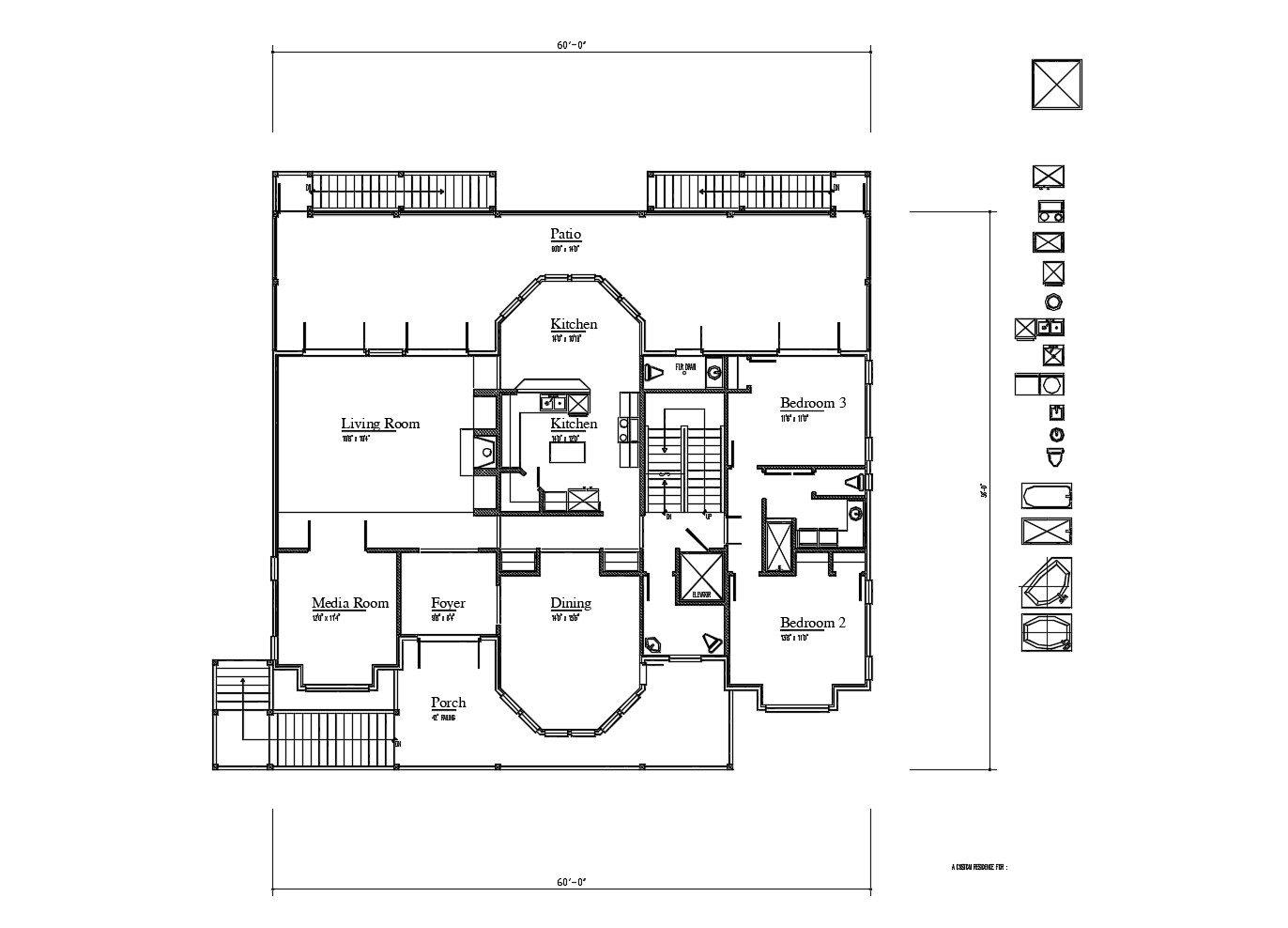 Floor plan of residential house 60'0'' x 56'0'' with detail dimension in AutoCAD