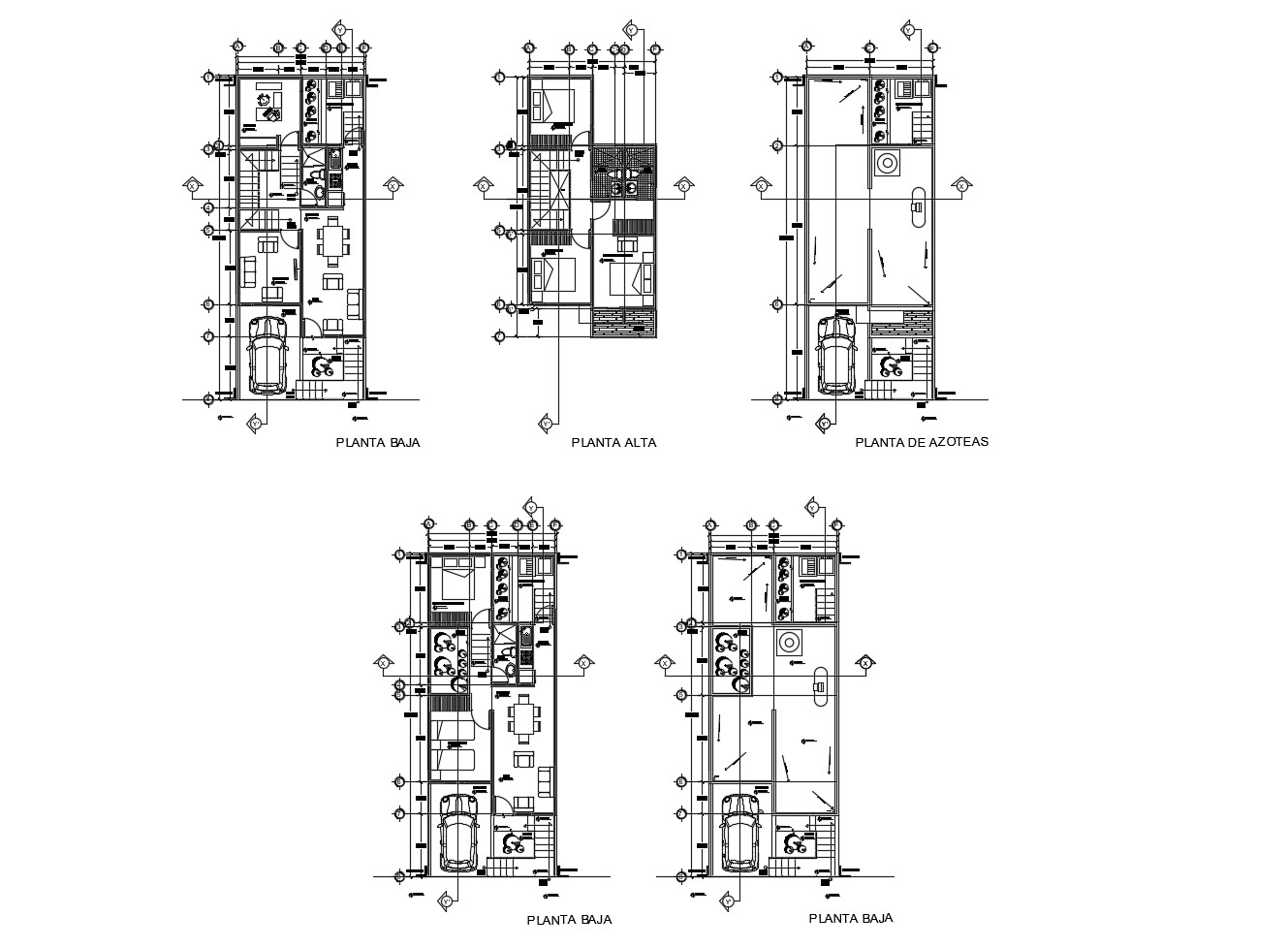 Floor plan of residential house with furniture details in dwg file