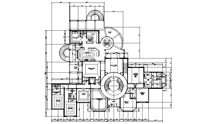 Floor plan of the residential bungalow in dwg file