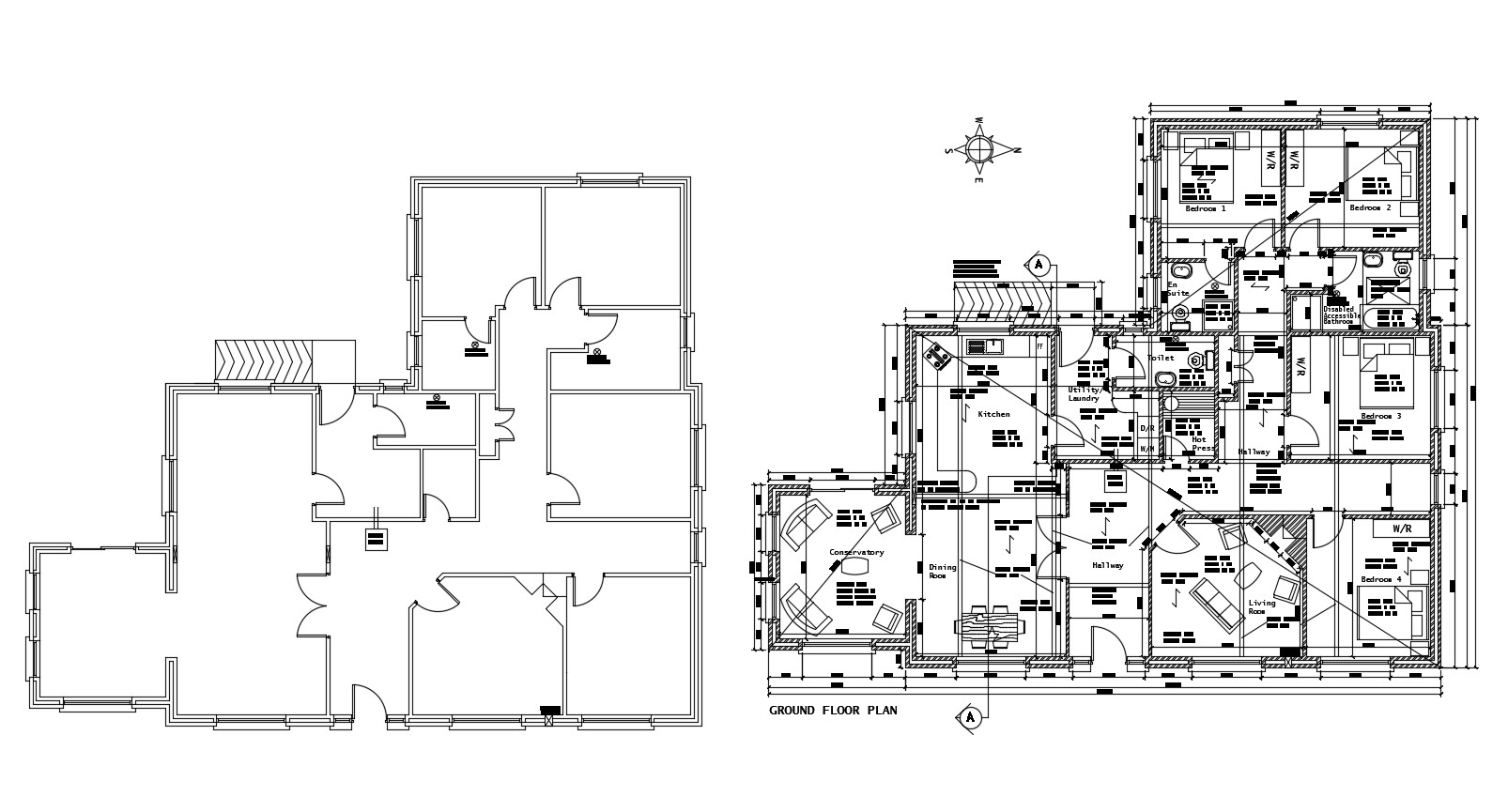 Floor plan of the residential house with furniture details in dwg file