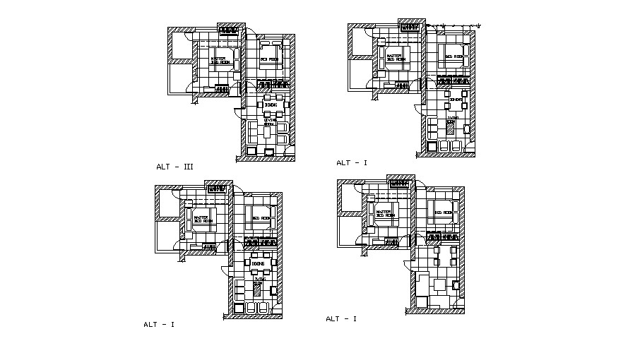 Floor plan of the residential house with furniture layout in dwg file