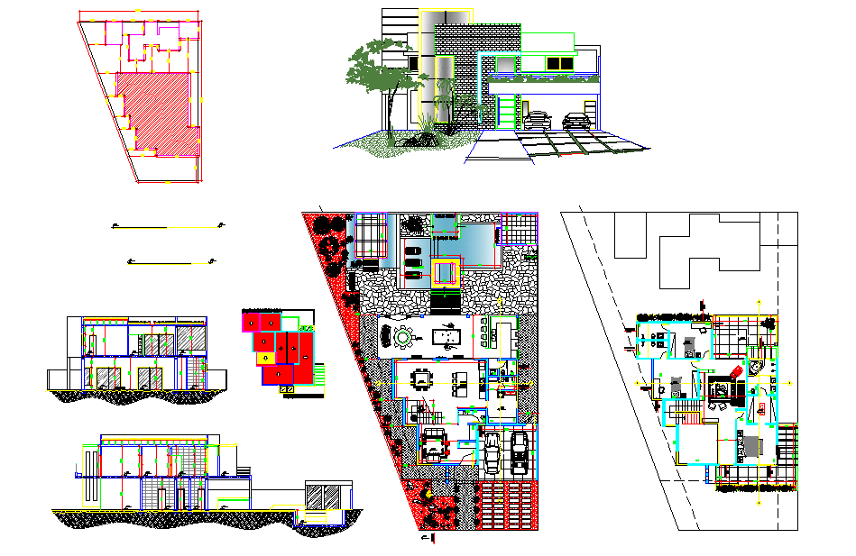 Floor plans two levels plan detail dwg file