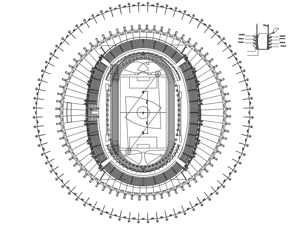 Football Stadium Plan AutoCAD File