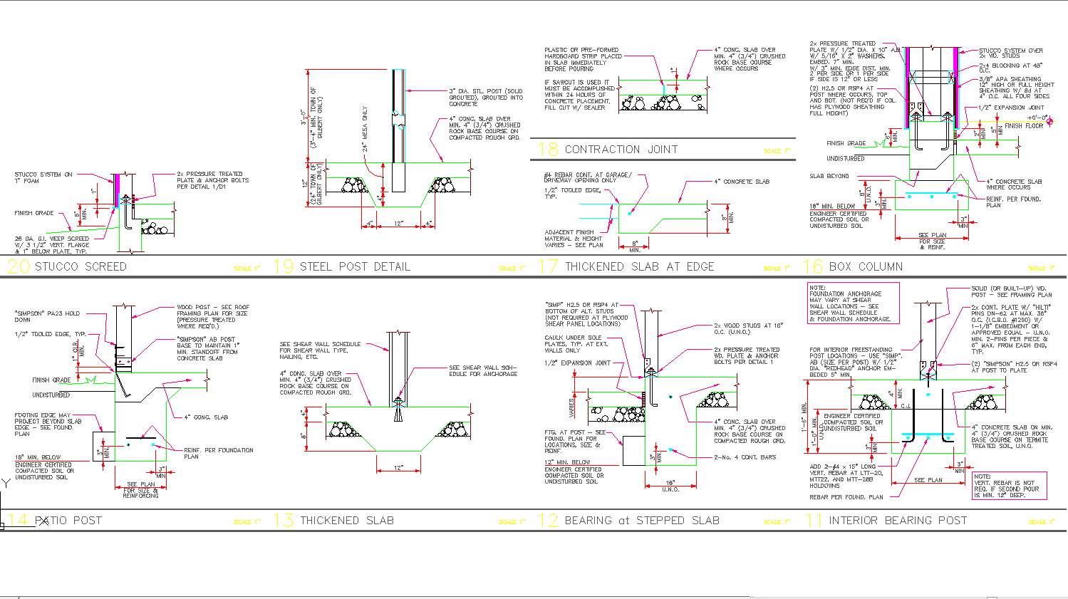 Footing detail cad drawing