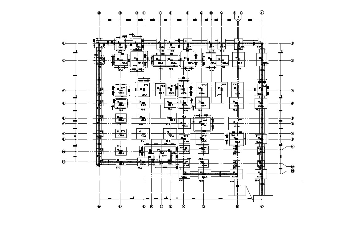 Footing layout in DWG file