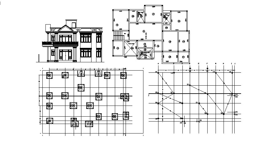 Footing layout plan design in dwg file
