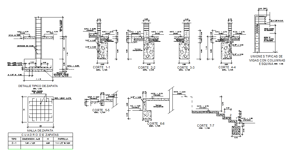 Footing plan and section detail dwg file