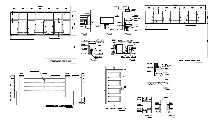 Foundation and constructive details of school with doors dwg file