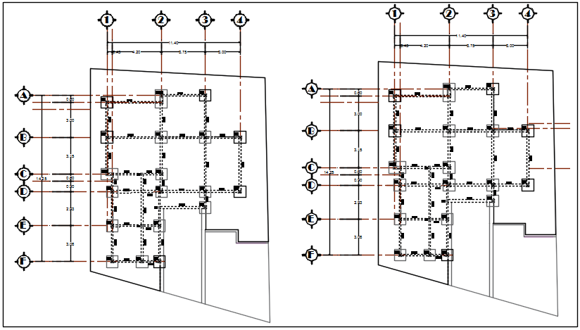 Foundation center line plan detail dwg file