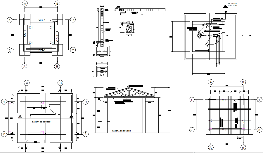 Foundation plan, elevation and section detail dwg file
