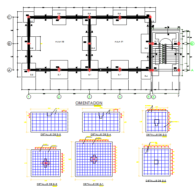 Foundation plan and elevation detail dwg file