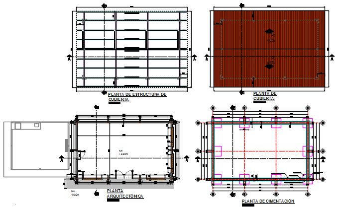 Foundation plan and roof working plan detail dwg file