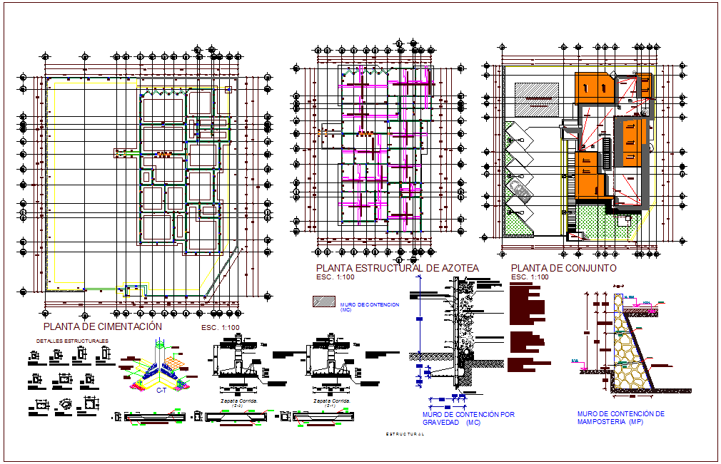 Foundation plan with structure detail of rural clinic dwg file