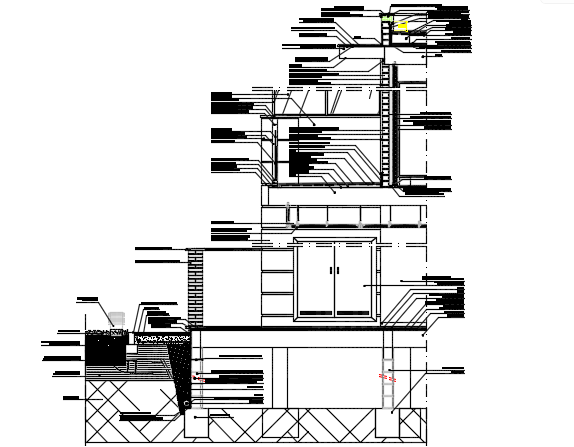 Foundation to wall section detail dwg file