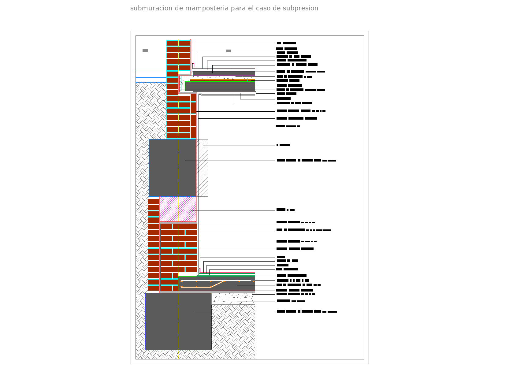 Foundation under wall detail dwg file.