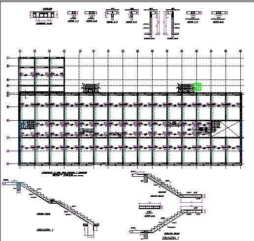 Foundation with staircase construction view of office building dwg file