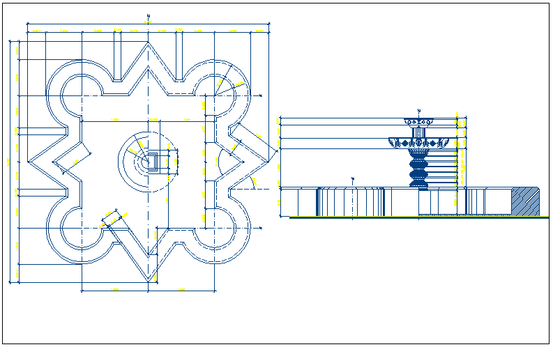 Fountain of garden architecture project dwg file