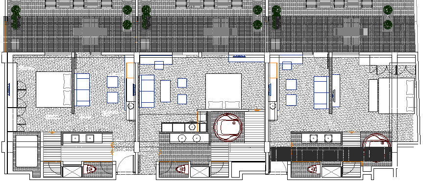 Four Star Suit Hotel Section and Structure Design dwg file