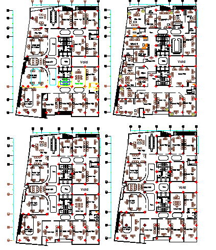 Four floor layout plan details of administrative building dwg file