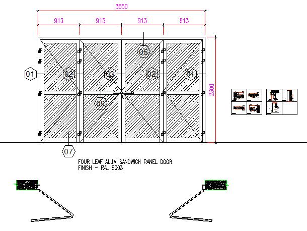 Four leaf aluminium sandwich panel door finish details dwg file