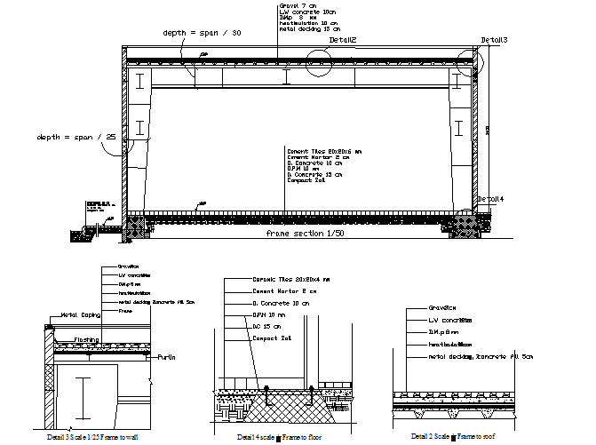 Frame section detail dwg file
