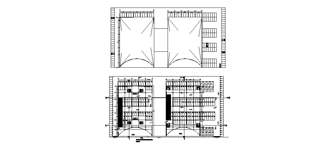 Framing plan and general plan details of architecture college building dwg file