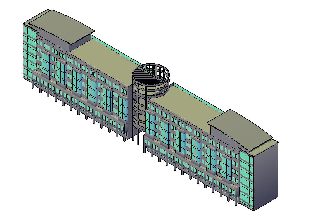 Free Download 3D Of Commercial Building AutoCAD File