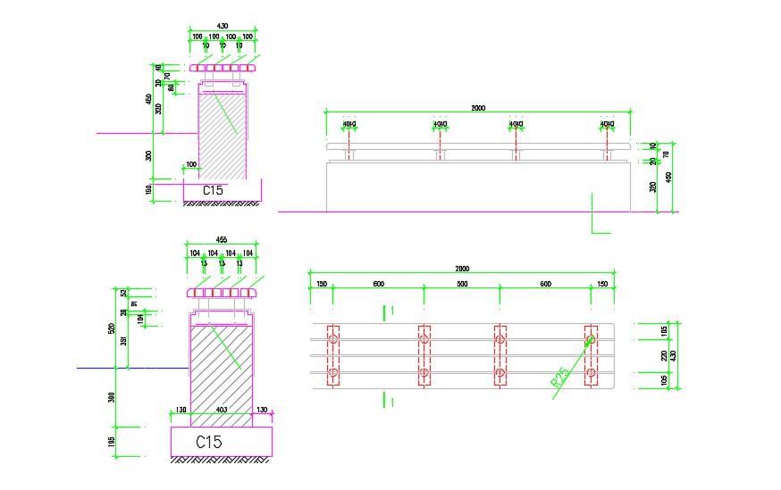 Free Download Railing Design DWG File - Cadbull