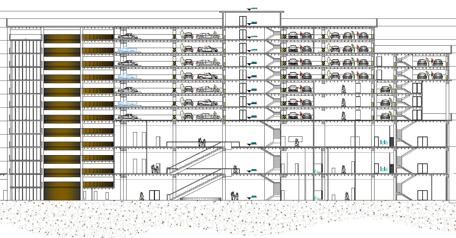 Free Download Section plan of Showroom