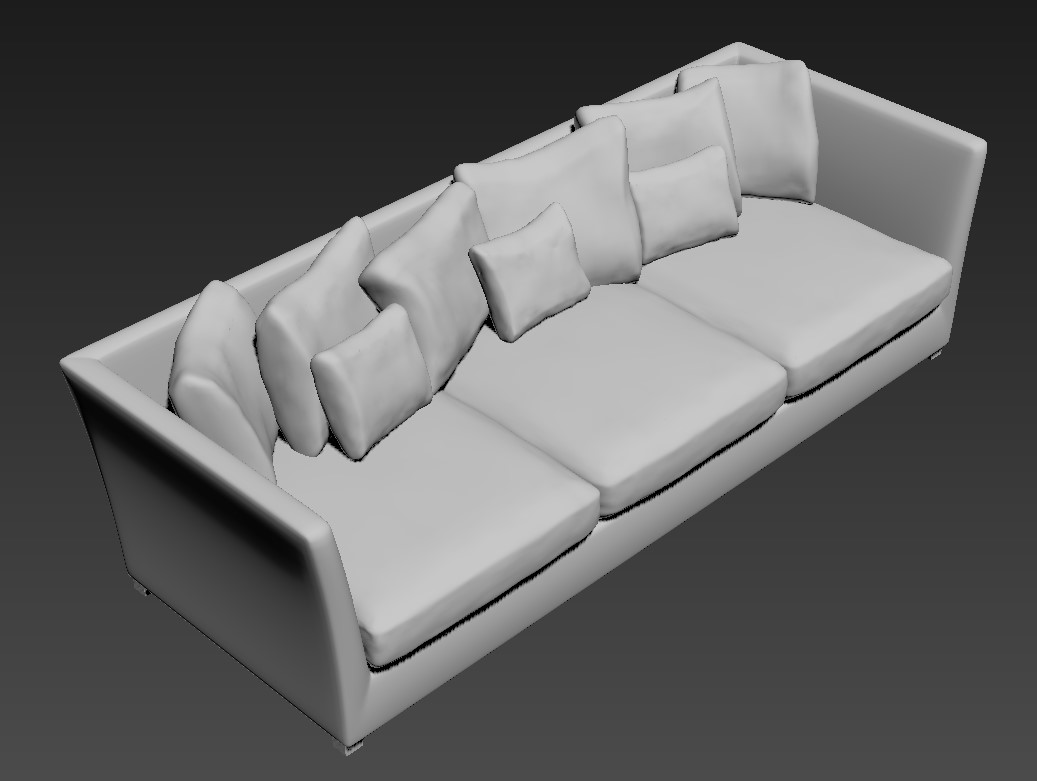 Free Download Three Seater Wooden Sofa 3D MAX File