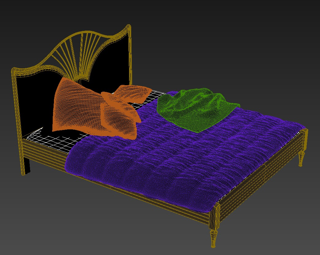 Free Download Traditional Wooden Bed Design With Rendered in 3D MAX File