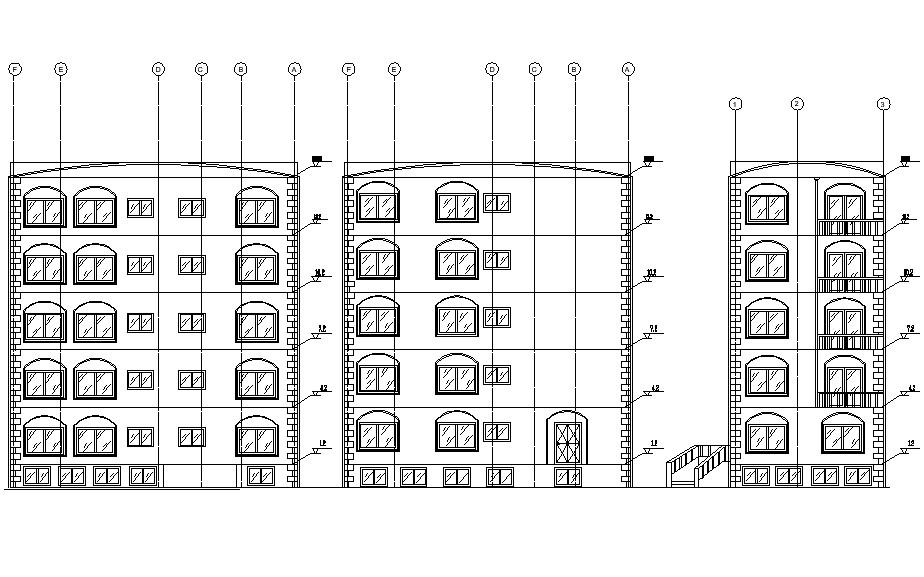 Free download Apartment front elevation design CAD file