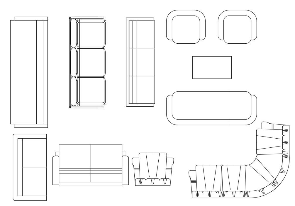 Free Sofa Set Furniture CAD Blocks Top View Drawing ...