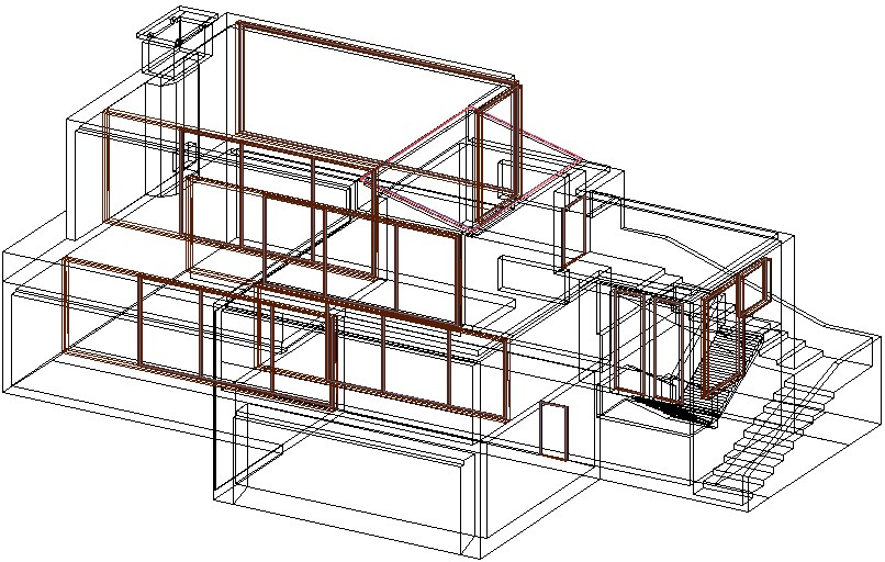 Front 3 D view house detail dwg file