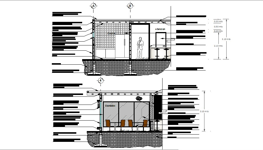 Front and back constructive section details of house dwg file