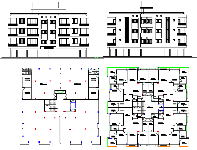 Front and back elevation and floor plan layout details of residential apartment dwg file