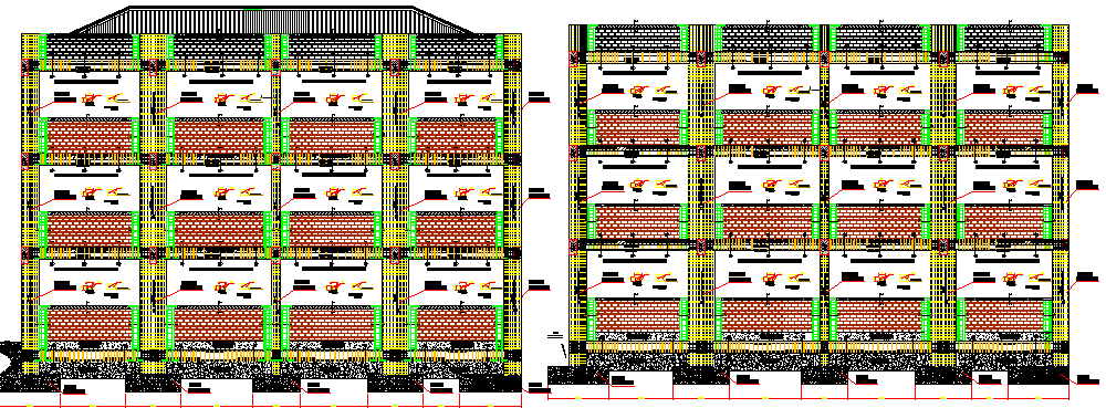 Front and back elevation of multi-flooring college dwg file