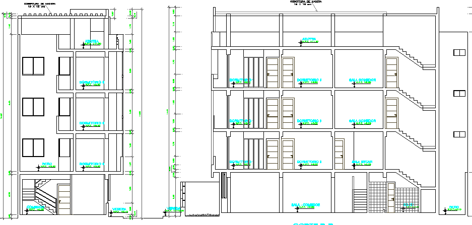 Front and side sectional view of four level housing building dwg file
