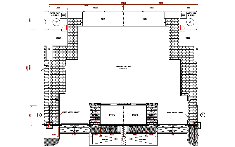 Front boundary wall details dwg file