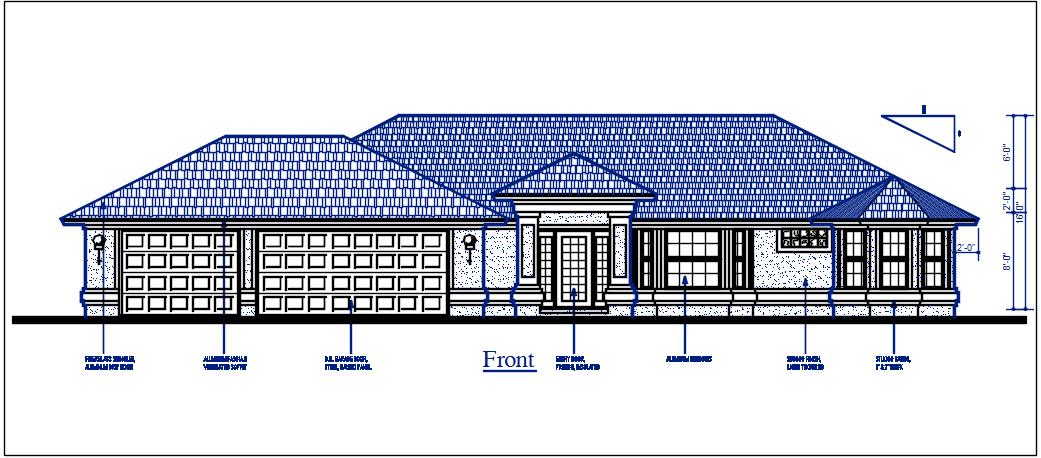 Front direction plan elevation details dwg files