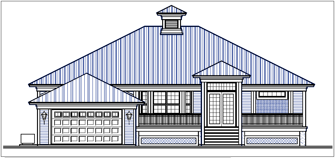 Front elevation and back elevation view of bungalow dwg file
