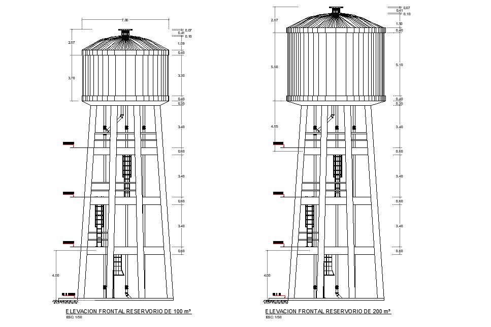 Front elevation high reservoir layout file